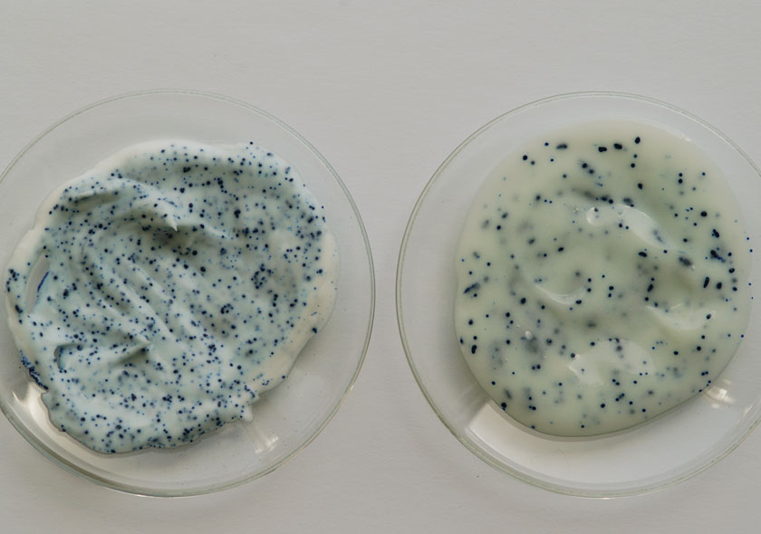 Probe mit Methylenblau: Lamecreme und Tego® SMS