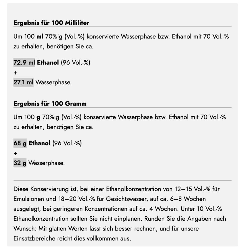 Ethanol verdünnen mit dem Alkohol-Rechner von Olionatura: Das Ergebnis