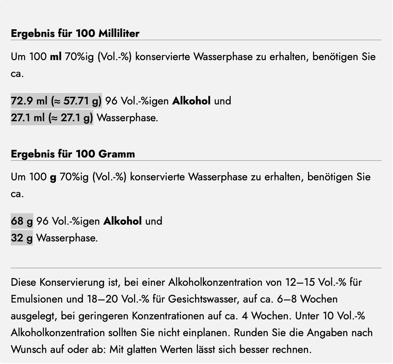 Ethanol umrechnen mit dem Alkohol-Rechner von Olionatura: Das Ergebnis