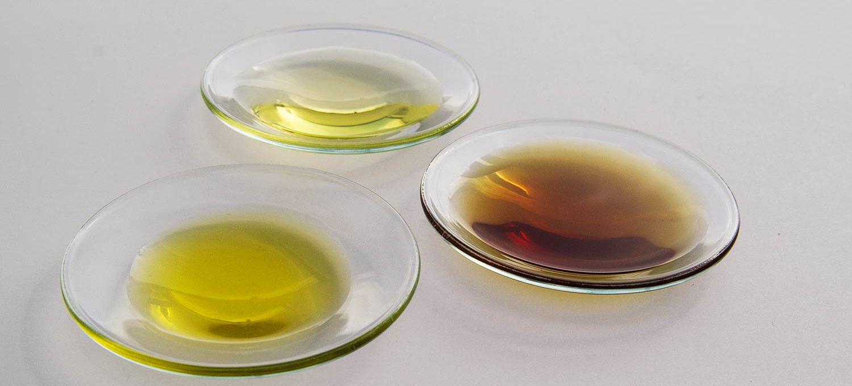 Kleine Glasschalen mit verschiedenen Pflanzenölen